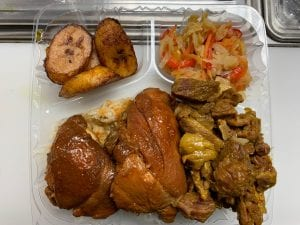 Brown Stew Chicken and Curry Goat