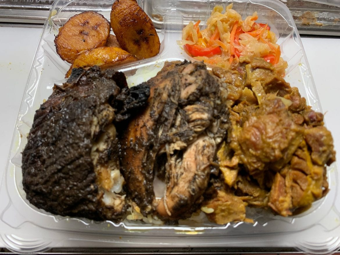 Jerk Chicken and Curry Goat Combination